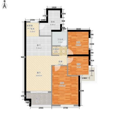 旺座城—海德堡PARK3室0厅1卫1厨98.00㎡户型图