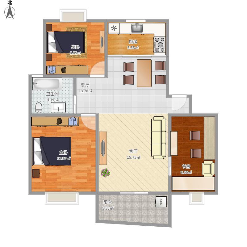 左岸名城99²三室两厅