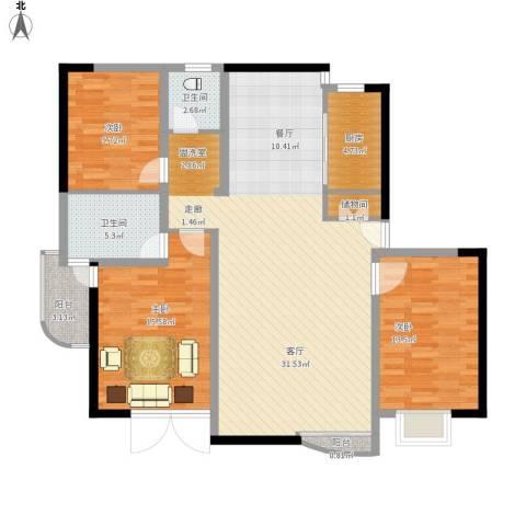 碧云山庄3室1厅2卫1厨145.00㎡户型图
