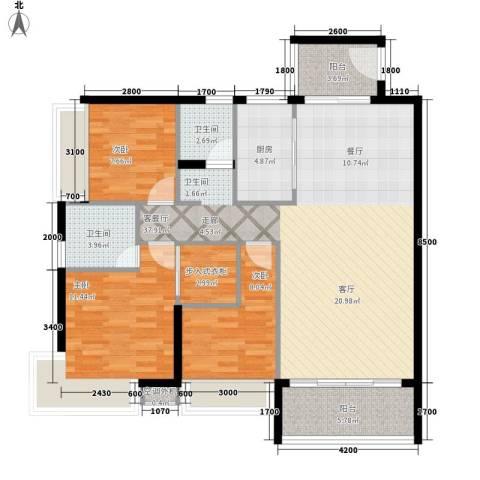 天天向上3室1厅2卫1厨127.00㎡户型图