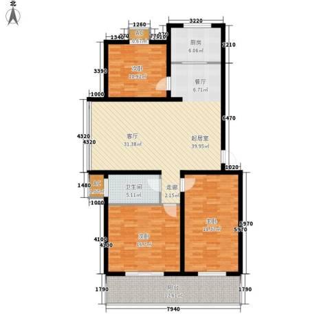 北小郭三期工程3室0厅1卫1厨125.00㎡户型图