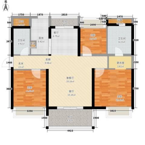 万科劲嘉金域华府3室1厅2卫1厨133.00㎡户型图