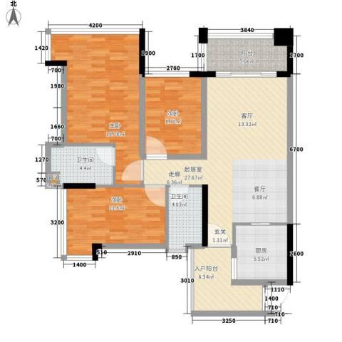 增城雅居乐御宾府3室0厅2卫1厨106.00㎡户型图