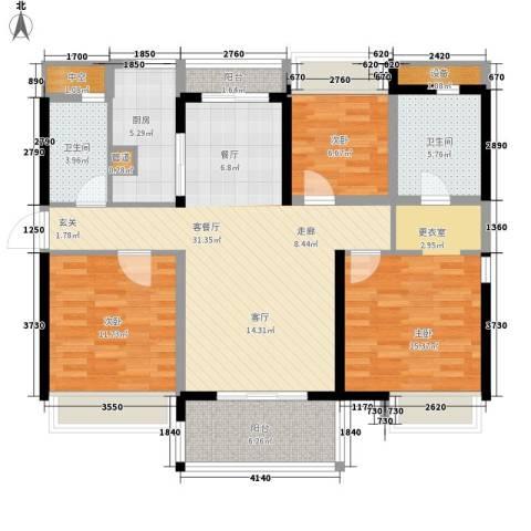 万科劲嘉金域华府3室1厅2卫1厨131.00㎡户型图