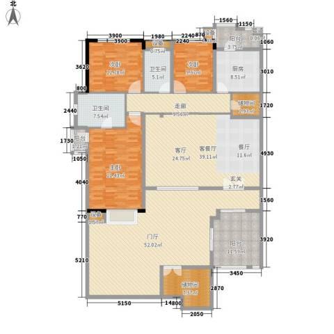 万科劲嘉金域华府3室1厅2卫1厨272.00㎡户型图