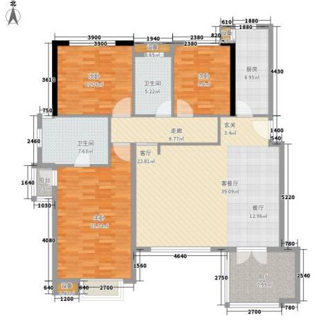 万科劲嘉金域华府3室1厅2卫1厨168.00㎡户型图