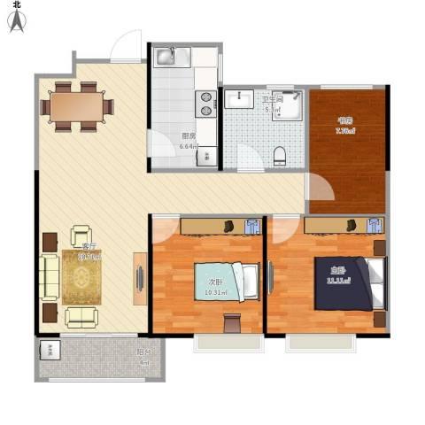 金地自在城别墅3室1厅1卫1厨100.00㎡户型图