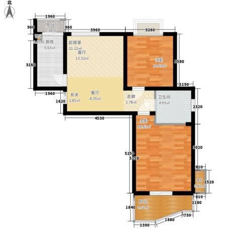新地国际公寓二期2室0厅1卫1厨116.00㎡户型图