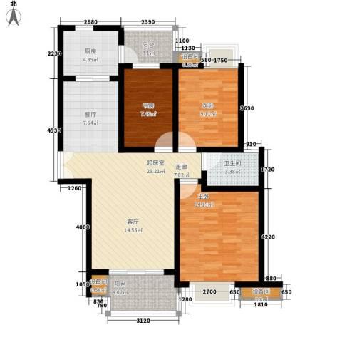 名仕达花园3室0厅1卫1厨118.00㎡户型图