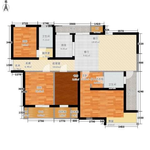 新地国际公寓二期4室0厅2卫1厨124.00㎡户型图