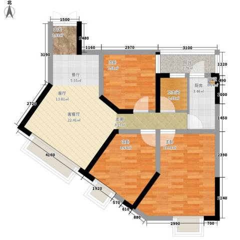 宏声新座3室1厅1卫1厨71.00㎡户型图