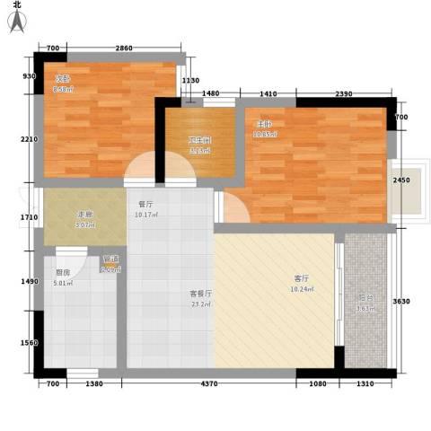 宏声新座2室1厅1卫1厨61.00㎡户型图