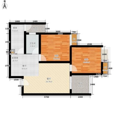 金杜洋光2室0厅1卫1厨67.00㎡户型图