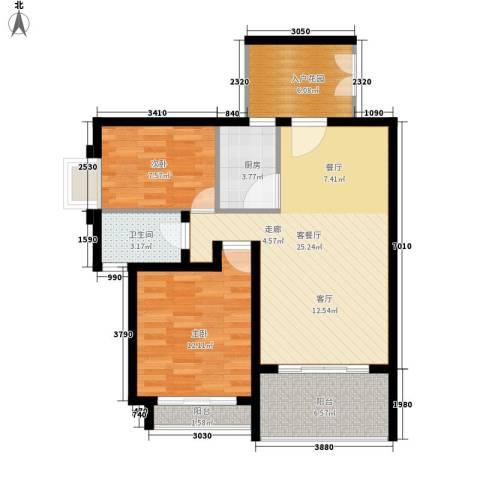 爱加丽都2室1厅1卫1厨76.00㎡户型图