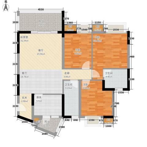 中侨大厦3室0厅2卫1厨134.00㎡户型图