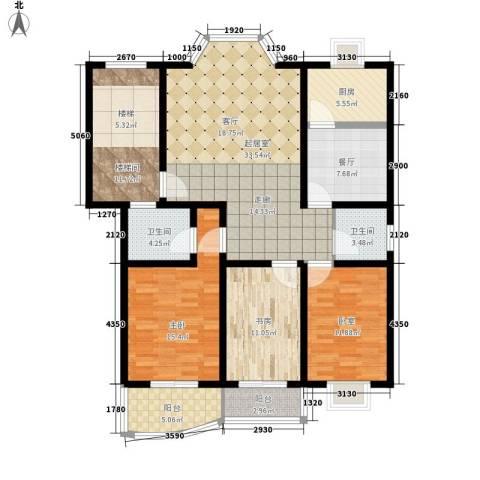 三兴园2室1厅2卫1厨130.00㎡户型图