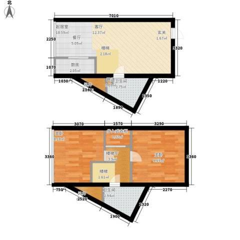 鑫秋大厦2室0厅2卫1厨50.94㎡户型图