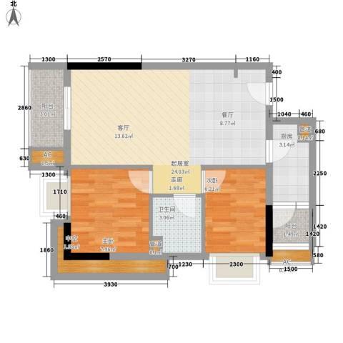 万科运河东1号公寓2室0厅1卫1厨77.00㎡户型图