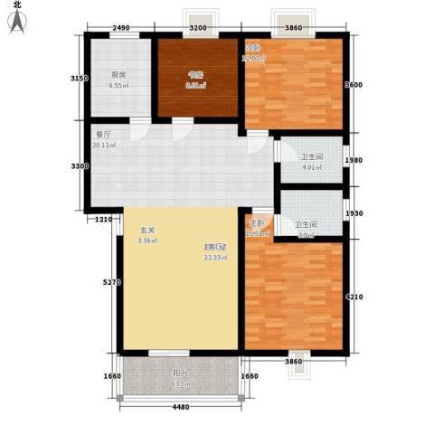 金鹏花园3室0厅2卫1厨120.00㎡户型图