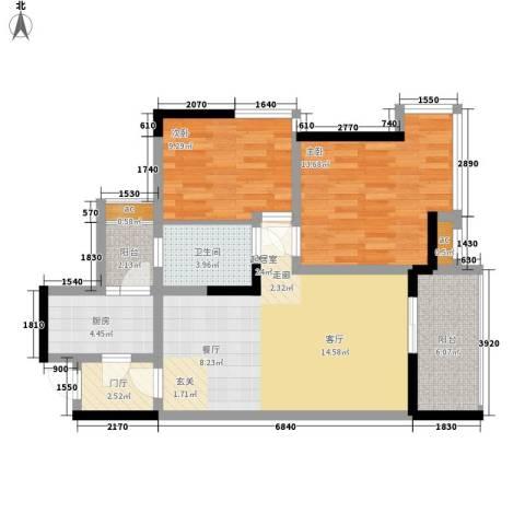 浩博天地2室0厅1卫1厨80.00㎡户型图