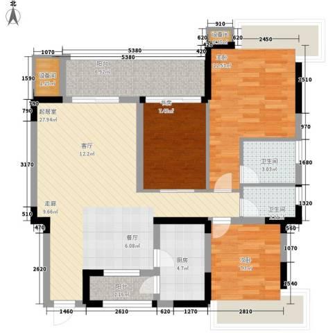广厦城岭都3室0厅2卫1厨89.00㎡户型图