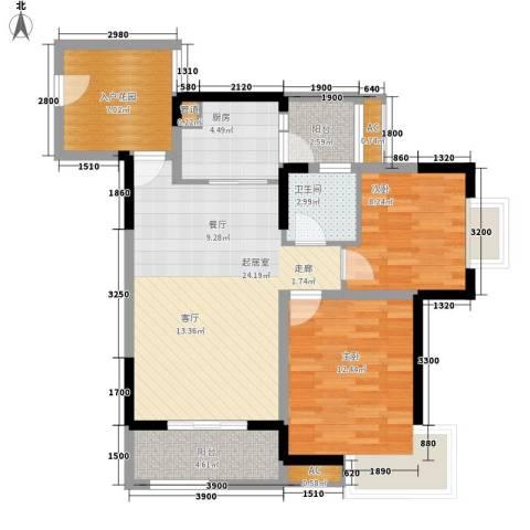 玛瑙花园2室0厅1卫1厨70.00㎡户型图