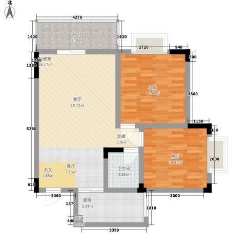中伦香山美筑2室0厅1卫1厨81.00㎡户型图
