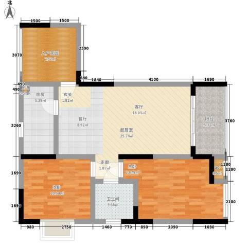 浩博天地2室0厅1卫1厨85.00㎡户型图