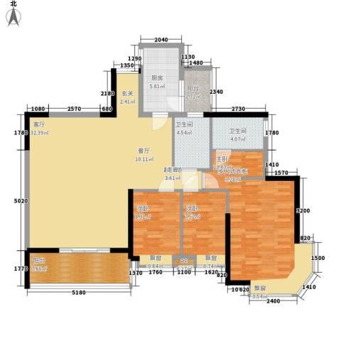 海伦堡御院3室0厅2卫1厨122.00㎡户型图