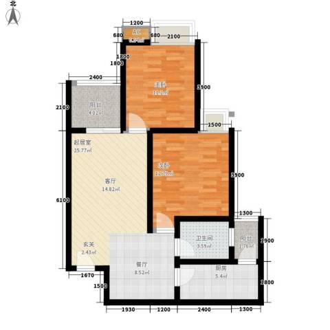 金杜洋光2室0厅1卫1厨71.00㎡户型图