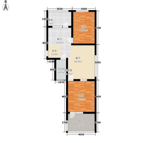 前龙小区2室0厅1卫1厨93.00㎡户型图