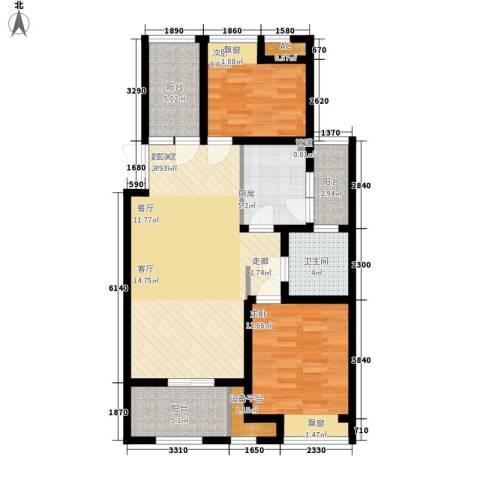 新浦江城2室0厅1卫1厨87.00㎡户型图