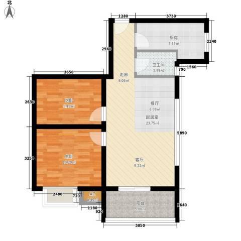 滨江绿园2室0厅1卫1厨64.00㎡户型图