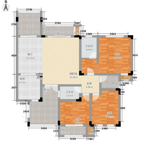 隆鑫花漾湖3室0厅2卫1厨126.00㎡户型图