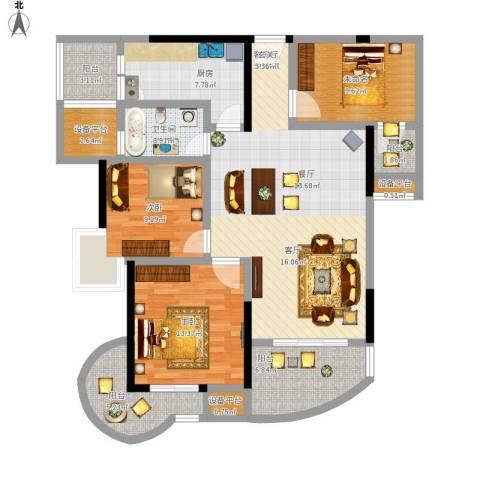 东方巴黎2室1厅1卫1厨144.00㎡户型图