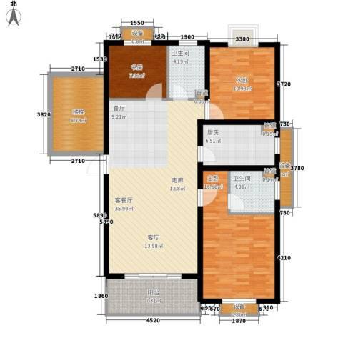 嘉恒.格林恬园3室1厅2卫1厨151.00㎡户型图