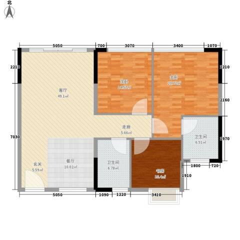 鑫苑都市家园3室1厅2卫0厨118.00㎡户型图