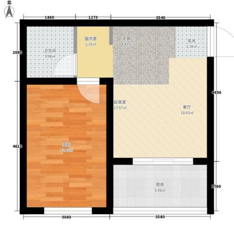 东城翡翠湾1室0厅1卫1厨55.00㎡户型图