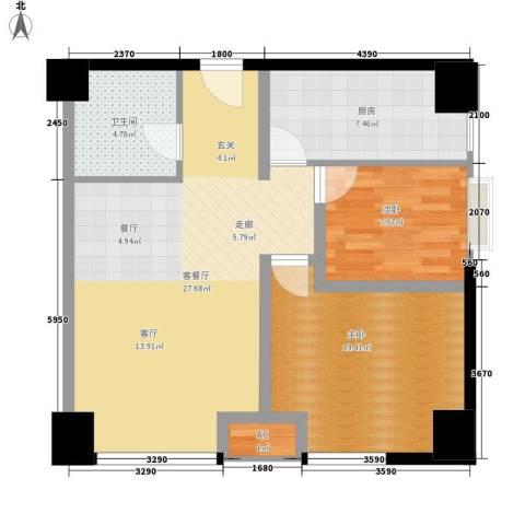 高新水晶城2室1厅1卫1厨90.00㎡户型图