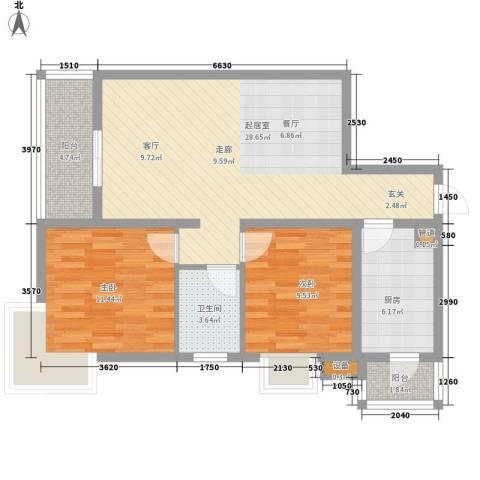 康路蓝山日记2室0厅1卫1厨71.00㎡户型图