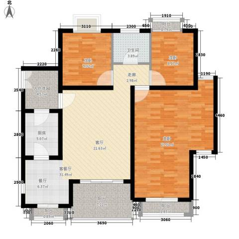 爱加丽都3室1厅1卫1厨115.00㎡户型图