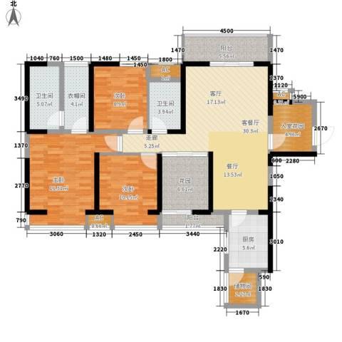 华城万象3室1厅2卫1厨139.00㎡户型图