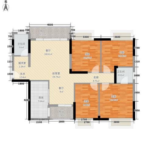 凯轩世纪云顶4室0厅2卫1厨133.00㎡户型图
