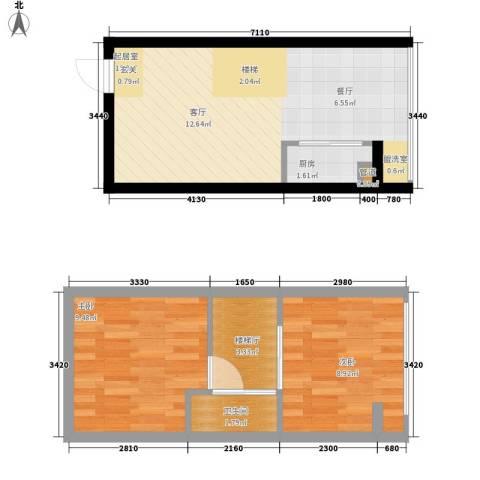 鑫秋大厦2室0厅1卫1厨51.00㎡户型图