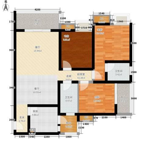 金杜洋光3室0厅2卫1厨98.00㎡户型图