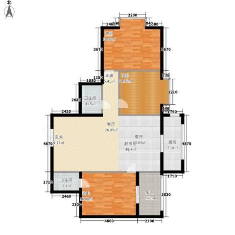 惠馨名仕公馆3室0厅2卫1厨129.00㎡户型图