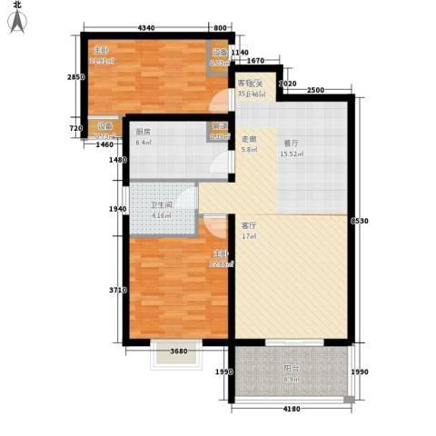 银河国际广场2室1厅1卫1厨113.00㎡户型图