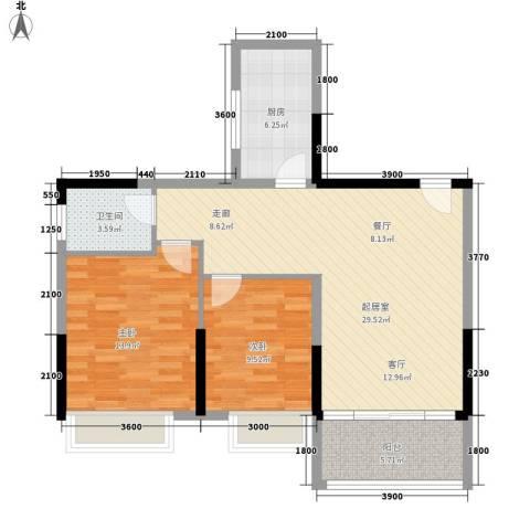 凯轩世纪云顶2室0厅1卫1厨91.00㎡户型图