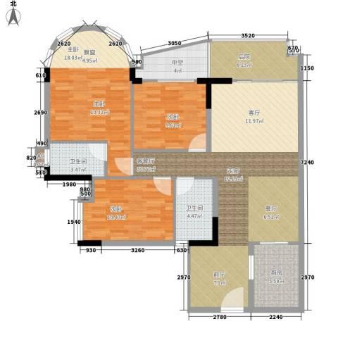 茗雅荟3室1厅2卫1厨111.57㎡户型图