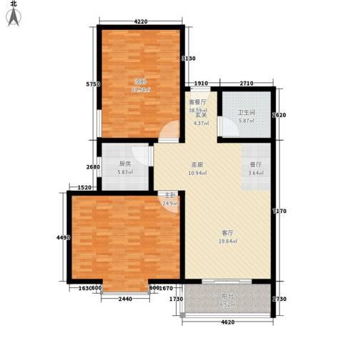 老科城花园2室1厅1卫1厨116.00㎡户型图